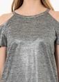 Que Omuzu Açık Tişört Gri